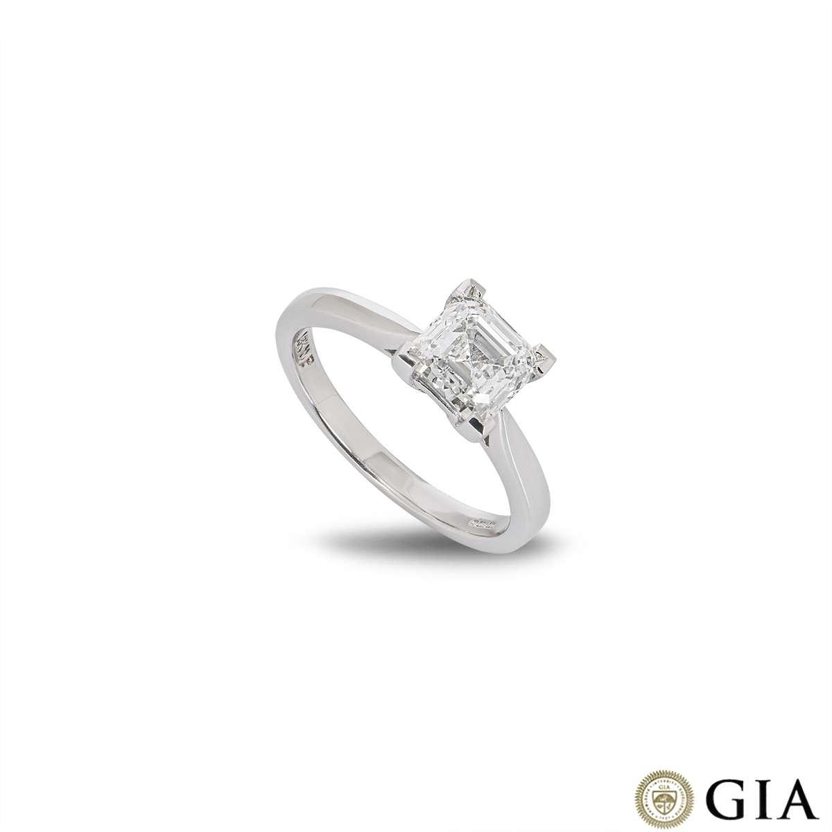 18k White Gold Asscher Cut Diamond Ring 1.58ct G/VS1